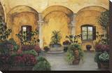 Patio Villa Toscana Stretched Canvas Print by Montserrat Masdeu