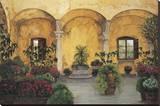 Patio Villa Toscana Reproduction sur toile tendue par Montserrat Masdeu