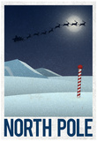 North Pole Retro Travel Poster Affiches