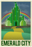 Emerald City Retro Travel Poster Billeder