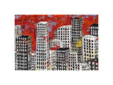 Red, Black and White Cityscape Prints by Daryl Thetford