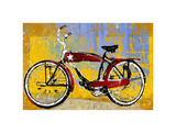 Red Bike with Star Prints by Daryl Thetford