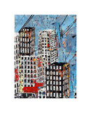 Blue, Black and White Cityscape Poster by Daryl Thetford