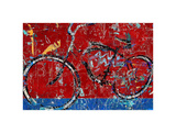 Red Graffiti Bike Print by Daryl Thetford