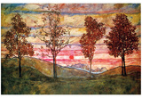 Four Trees Print by Egon Schiele