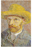 Self Portrait with Straw Hat 1887 Posters by Vincent van Gogh
