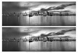 2-Up Sunset Panorama Harbor Posters av Nish Nalbandian