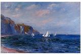 Klippen und Segelboote in Pourville Poster von Claude Monet