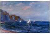 Cliffs and Sailboats at Pourville Posters by Claude Monet