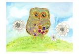 Owl & Flowers Posters van Ingrid Blixt