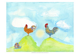Hilltop Roosters Art by Ingrid Blixt