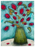 Flowers in Green Vase Giclee Print by Marabeth Quin