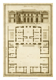 Vintage Building & Plan I Giclee Print by  Deneufforge