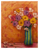 Bouquet in Striped Vase Giclee Print by Marabeth Quin