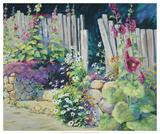 Hollyhock Garden Giclee Print by Julie G. Pollard