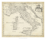 Map of Italy Giclee Print by T. Jeffreys