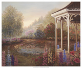 Gazebo with Foxgloves Giclee Print by Judy Mastrangelo