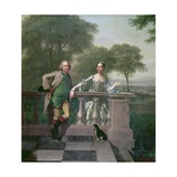 Portrait of Edward Gordon, His Sister Mrs Miles and Her Husband, in their Garden at Bromley Giclee Print by Arthur Devis