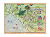 Fol.43V Map of Florida and the Caribbean, from 'Cosmographie Universelle', 1555 Giclee Print by Guillaume Le Testu