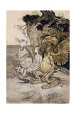 Alice and the Mock Turtle, Illustration from 'Alice's Adventures in Wonderland', 1907 Giclee Print by Arthur Rackham
