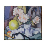 Blue and White Vase, Roses, Melon and Orange Giclee Print by Samuel John Peploe