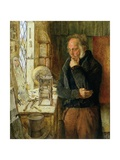 Our Village Clockmaker Solving a Problem, c.1859 Giclee Print by James Campbell