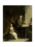 In Bedford Jail - John Bunyan (1628-88) and His Blind Daughter Giclee Print by Alexander Johnston