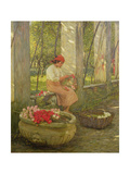 A Ligurian Flower Girl Giclee Print by Henry Herbert La Thangue