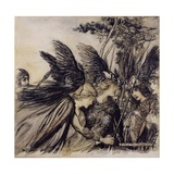 Brunnhilde Implores the Valkyries, Illustration from 'The Rhinegold and the Valkyrie' Gicleetryck av Arthur Rackham