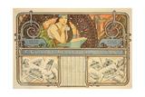 F. Guillot Pelletier Calendar, 1897 Reproduction procédé giclée par Alphonse Marie Mucha