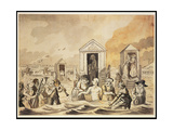King George III (1738-1820) Bathing at Weymouth, 1789 Gicleetryck av John Nixon