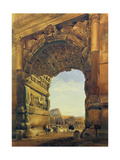 The Arch of Titus with the Colosseum, Rome Giclee Print by Thomas Hartley Cromek