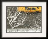 Yellow cab on Park Avenue in a snowstorm Framed Photographic Print by Bo Zaunders