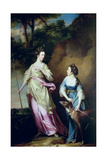 The Hon. Lady Stanhope and the Countess of Effingham as Diana and Her Companion, 1765 Giclee Print by Francis Cotes