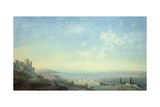 Smyrna from the Citadel on Mount Pagus, the Cesme Peninsula and the Gardens of Bornora Giclee Print by Carlo Bossoli