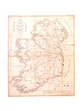 A Map of the Mail Coach Branching Cross and Bye Post Roads of Ireland, Engraved by S. Kerling Giclee Print by William Larkin