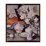 White Roses in a Vase Giclee Print by Samuel John Peploe