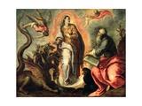 Woman Fleeing the Dragon Giclee Print by  Palma Il Giovane