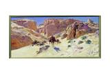 Caravan in the Desert Giclee Print by Eugene Alexis Girardet