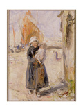Mother and Baby on a Dutch Quay Giclee Print by Robert Gemmell Hutchison