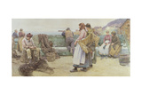 In a Cornish Fishing Village: Departure of the Fleet for the North, 1886 Giclee Print by Walter Langley