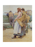 In a Cornish Fishing Village: Departure of the Fleet for the North, Detail of Two Fishwives Giclee Print by Walter Langley