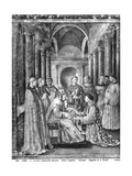 Pope Sixtus II (D.258) Confers the Diaconate on St. Lawrence (D.258) from the Chapel of Nicholas Giclee Print by  Fra Angelico