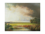 Reed Beds with Extensive Landscape Giclee Print by Johann Kautsky