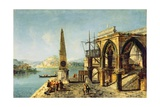 Capriccio with a Gothic Building and an Obelisk Giclee Print by Michele Marieschi