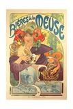 Poster Advertising 'Bieres De La Meuse', 1897 Giclée-tryk af Alphonse Mucha