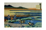Noblemen and Peasants on a Causeway Near a Marsh, 1839 Giclée-Druck von Katsushika Hokusai
