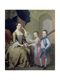 Mrs Matthew Mitchell and Her Children, Matthew and Anne, 1757-58 Giclee Print by Thomas Hudson