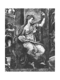 Justice, One of the Two Virtues Surrounding Pope St. Urban I (D.230) Raphael Rooms Giclee Print by Giulio Romano