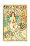 Poster Advertising Trains to Monte Carlo, Monaco, 1897 Giclee Print by Alphonse Mucha